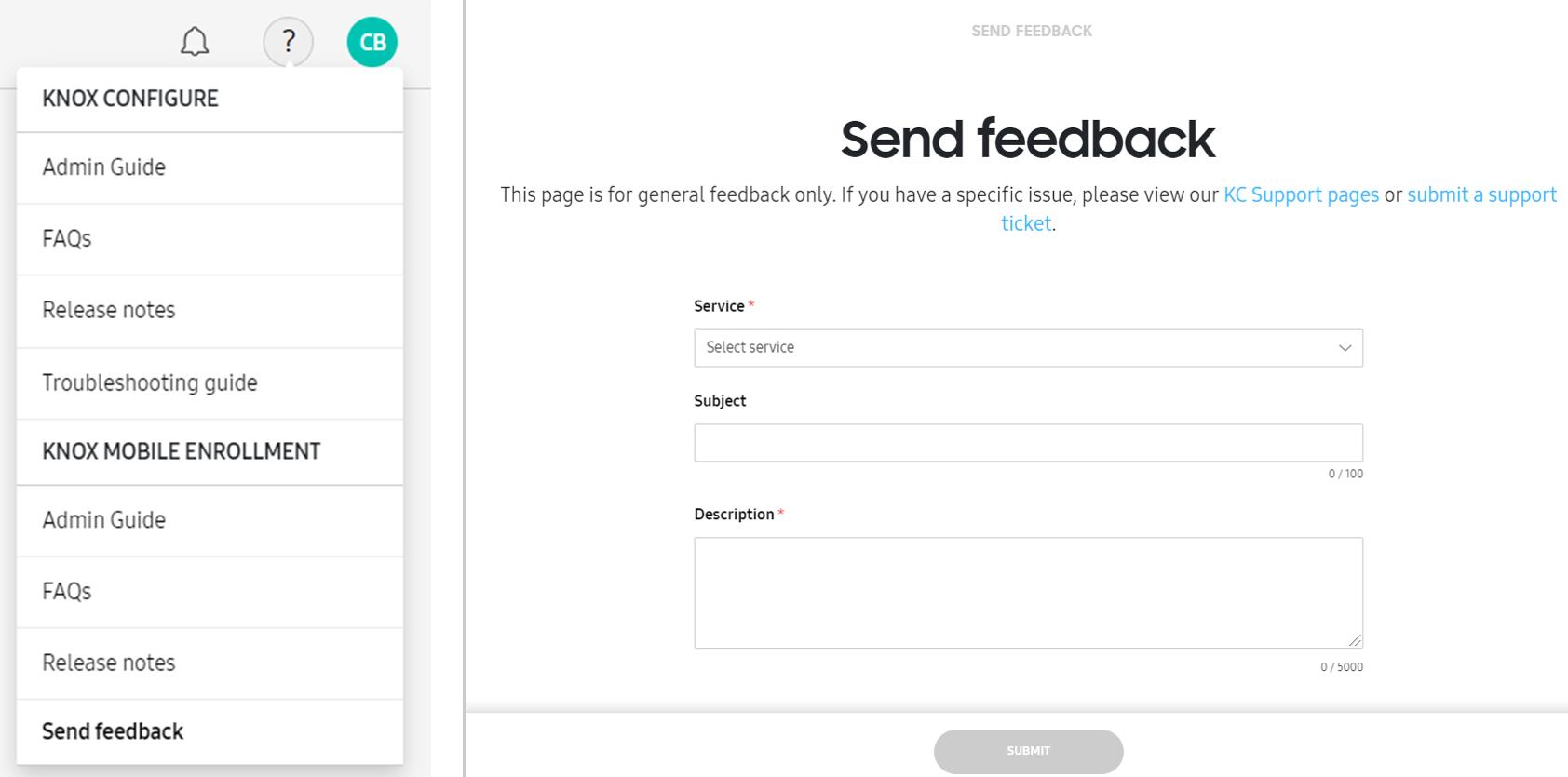 USP feedback screen